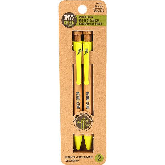 Onyx + Green Medium Tip Bamboo Ballpoint Pens - Blue Ink - 2 pack