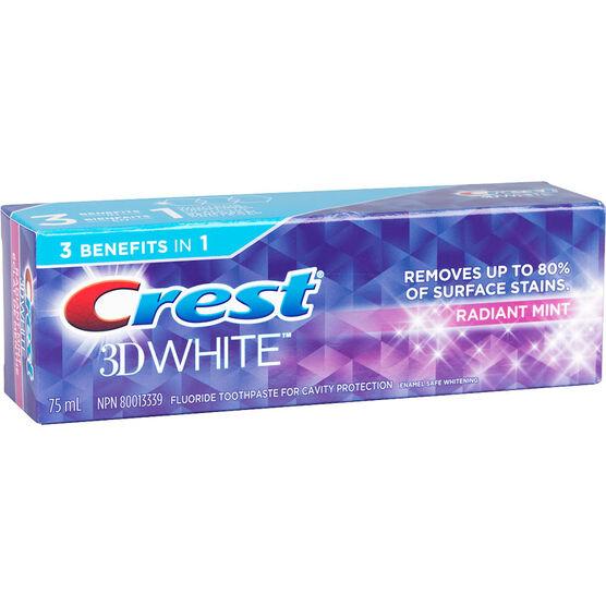 Crest 3D White Toothpaste - Radiant Mint - 75ml