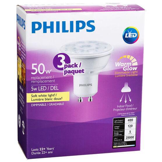 Philips GU10 LED Bulb - Soft White - 5w=50w - 3 pack
