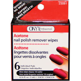 Onyx Acetone Nail Polish Remover Wipes - 6's