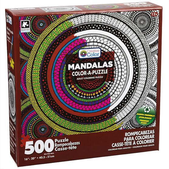 Mandala Color-A-Puzzle - Assorted - 500 Pieces