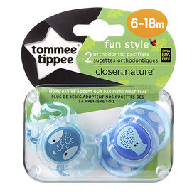 Tommee Tippee Closer to Nature Fun Style Pacifier - 6-18 Months - 2 pack - Assorted