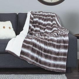 Sunbeam Faux Fur Heated Throw - Brown/White - TSE8TS-RW03-39A50