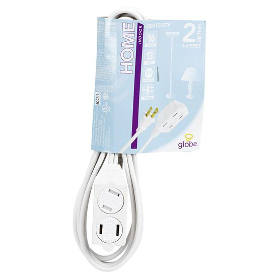 Globe 3 Outlet Extension Cord - 2M - White