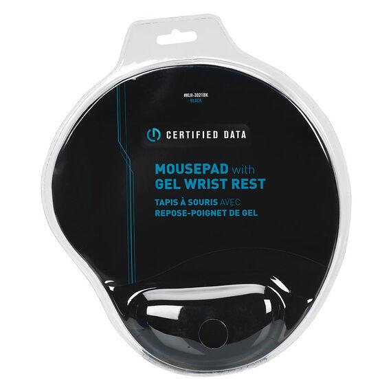 Certified Data Mousepad with Gel Wrist Rest - Black - KLH-3021BK