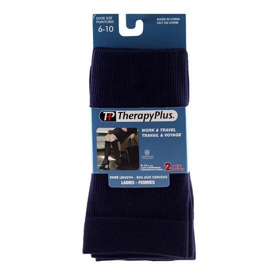 Therapy Plus Ladies Knee High Socks - Navy - 2 Pair -  Size 6 to 10
