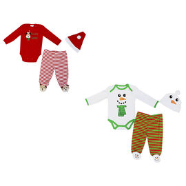 Baby Mode 3-Piece Christmas Bodysuit Set - 0-9 months - Assorted