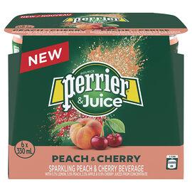 Perrier & Juice Sparkling Beverage - Peach & Cherry - 6x330ml