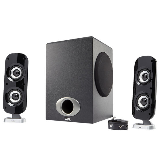 Cyber Acoustics Satellite Speaker System with Control Pod - Black - CA-3810