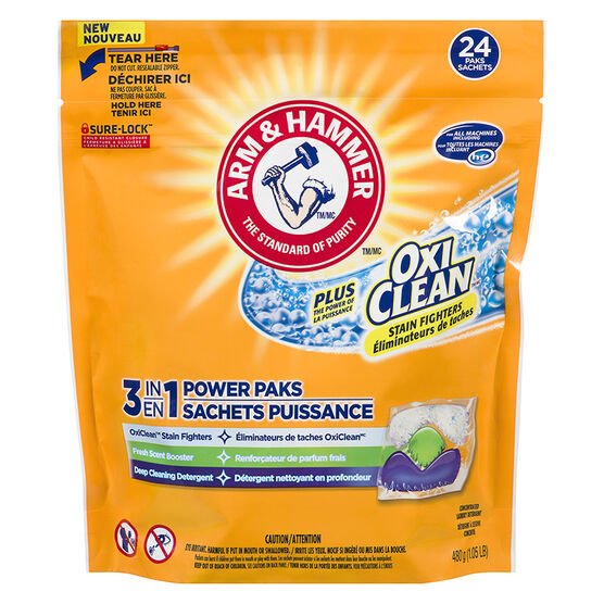Arm & Hammer 3-in-1 Power Paks Laundry Detergent - Fresh Scent - 24's