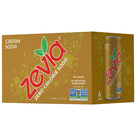 Zevia Soda - Cream Soda - 6 x 355ml
