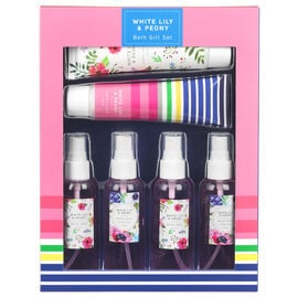 Floral Bath Gift Set - White Lily & Peony - 6 piece