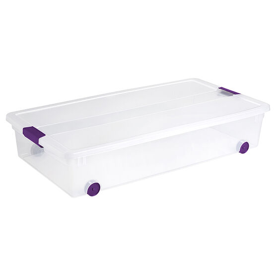 Sterilite ClearView Latch™ Wheeled Underbed Box - 57L