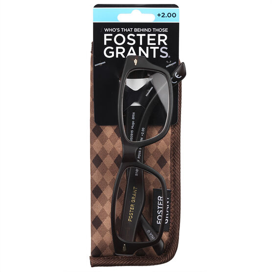 Foster Grant Hugo Brown Reading Glasses with Case - 2.00