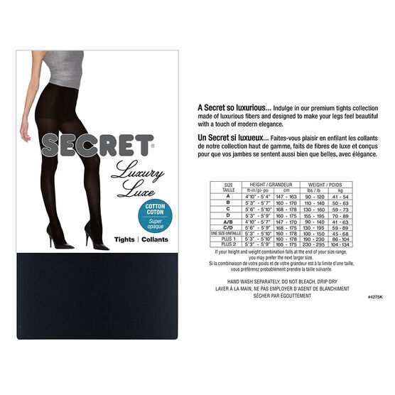 Secret Luxury Cotton Touch Control Tights - D - Black
