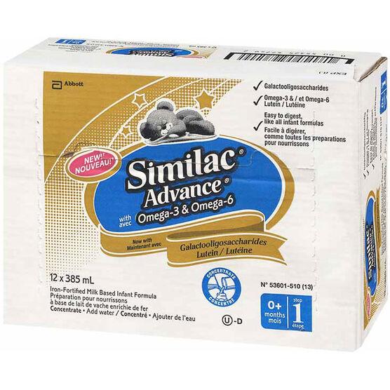 Similac Advance Concentrated Liquid with Omega-3 & Omega-6 - 12 x 385 ml