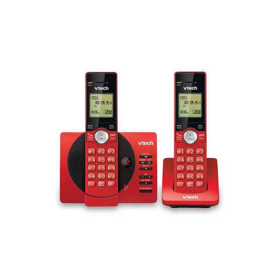 VTech 2-Handset Cordless Phone with Caller ID and Answering Machine - Red - CS692926