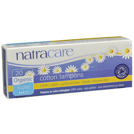 Natracare 100% Certified Organic Cotton Tampons - Super - 20' s