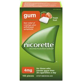 Nicorette Nicotine Gum Stop Smoking Aid - Fresh Fruit - 4mg - 105's