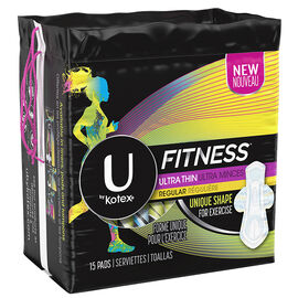 U by Kotex Fitness Ultra Thin Pads - Regular - 15's
