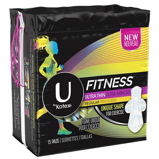 U by Kotex Fitness Ultra Thin Pads - Regular - 15's