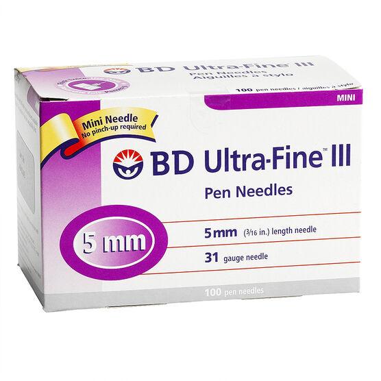 BD Ultra Fine TM III Mini Insulin Pen Needle - 31 G x 5mm - 100's