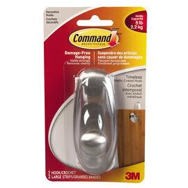 Command™ Large Timeless Decorative Hook - Brushed Nickel - Single