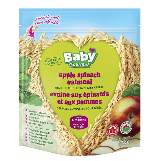 Baby Gourmet Apple Spinach Oatmeal Cereal - 208g