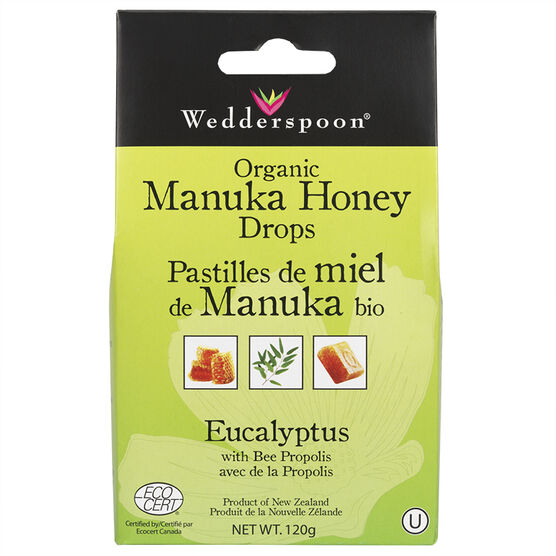 Wedderspoon Organic Honey Drops - Eucalyptus with Bee Propolis - 120g