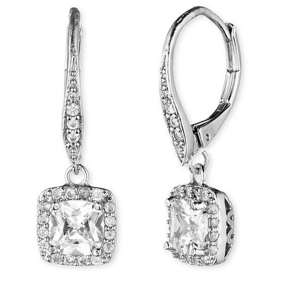 Anne Klein Stone Pendant Drop Earrings - Silver