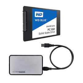 WD Blue 500GB Solid State Drive with Silver Certified Data 2.5 HDD Case - PKG #13809