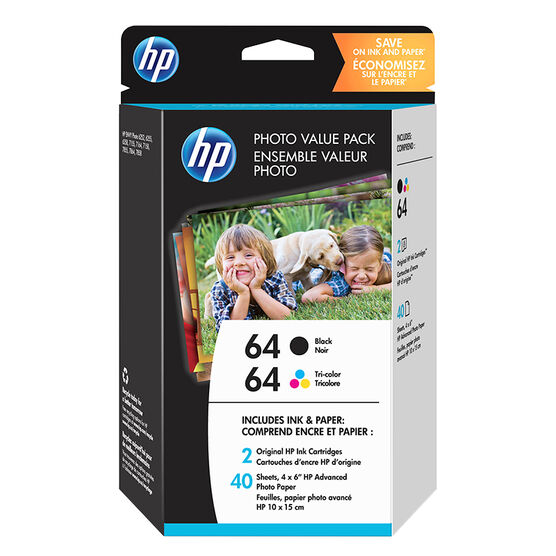 HP 64 Photo Printer Ink Cartridge Value Pack - Black and Colour - Photo Paper