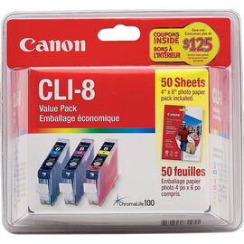 Canon CLI-8 Colour Combo Pack with Photo Paper - 0621B014
