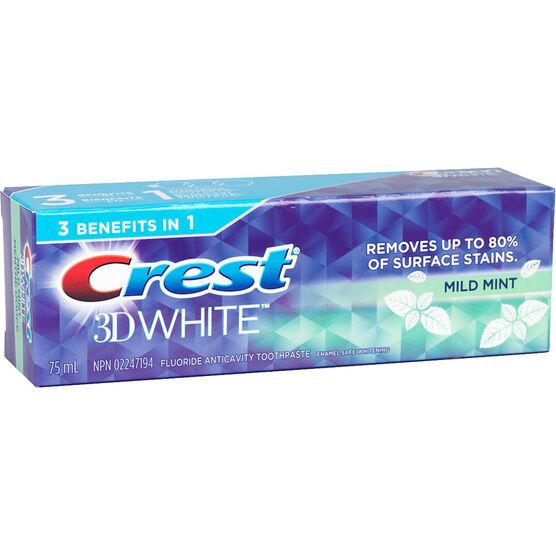 Crest 3D White Toothpaste - Mild Mint - 75ml