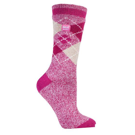 Heat Holders Ladies Jacq Lite Argyle Crew Sock - Raspberry/White