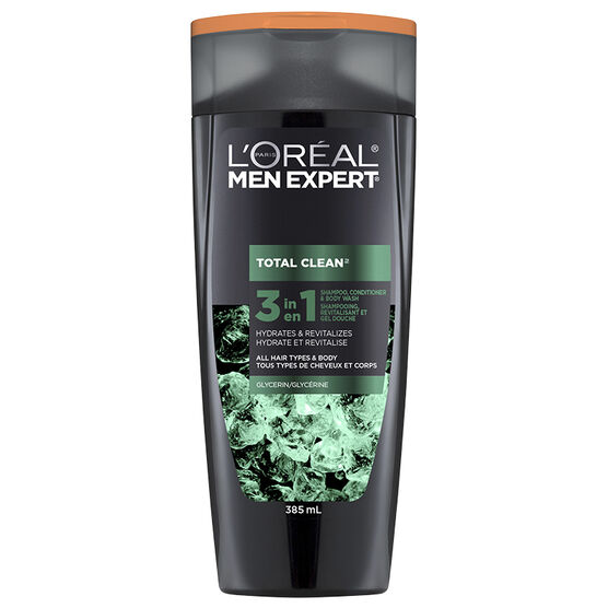 L'Oreal Men Expert Total Clean 3 in 1 Shampoo Conditioner Body Wash - Glycerin - 385ml