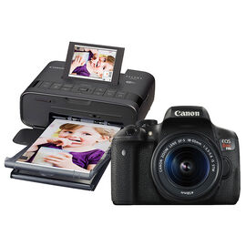 Canon EOS Rebel T6i with 18-55mm IS STM Lens and Canon Selphy CP1300 Photo Printer - Black - PKG #53600