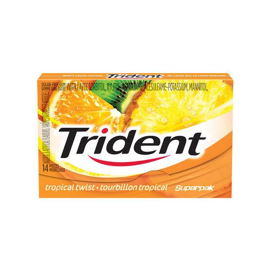 Trident Sugarless Gum - Tropical Twist - 14's