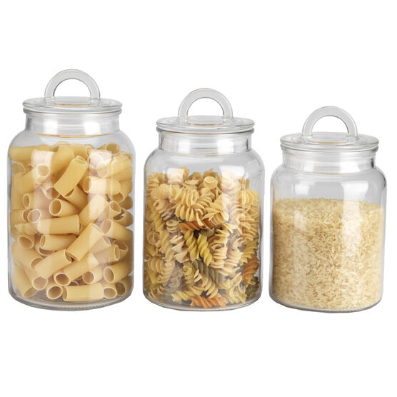 London Drugs Glass Canisters with Loop Lid - Set of 3