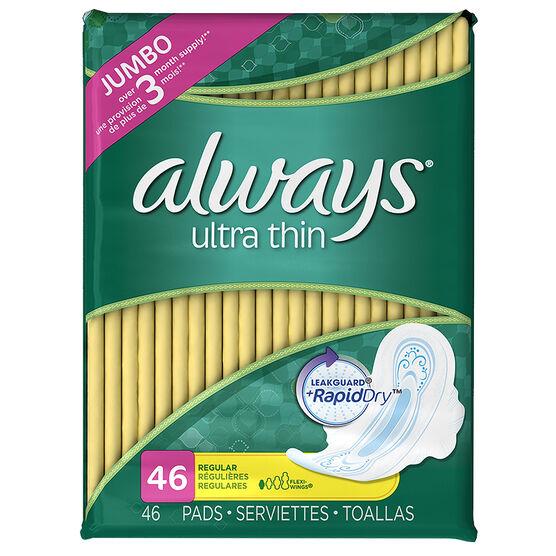Always Ultra Thin Pads - Regular - 46's