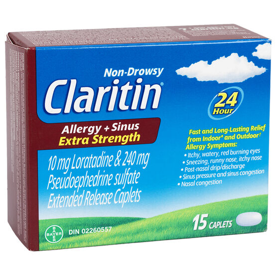 Claritin Allergy & Sinus - Extra Strength/Non Drowsy - 24 hour - 15's
