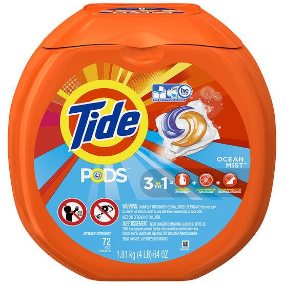 Tide Pods Laundry Detergent - Ocean Mist - 72's