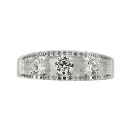 Puccini Cubic Zirconia Modern Triple Stone Eternal Ring - Size 7