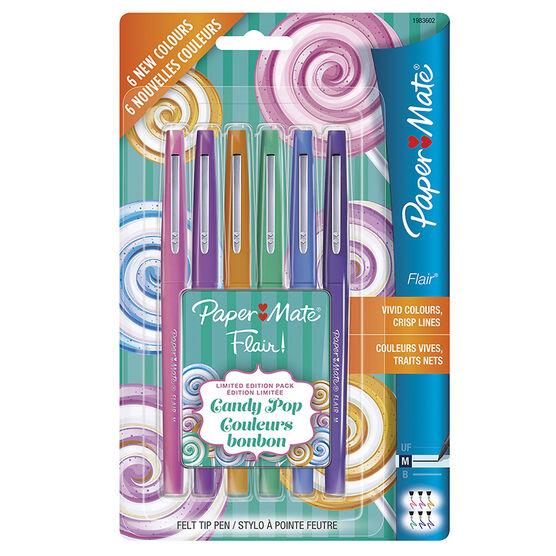 Paper Mate Flair Felt Tip Pens - Candy Pop - 6's