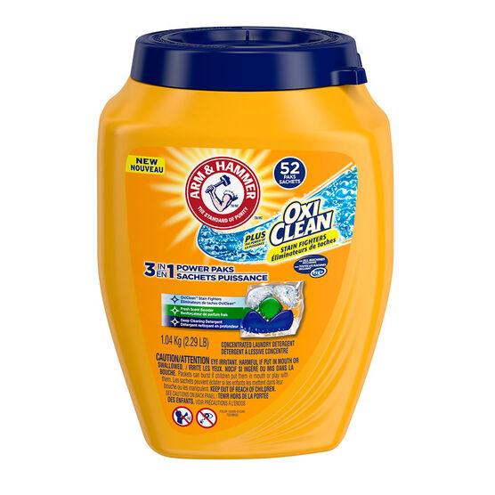 Arm & Hammer 3-in-1 Power Paks Laundry Detergent - Fresh Scent - 52's