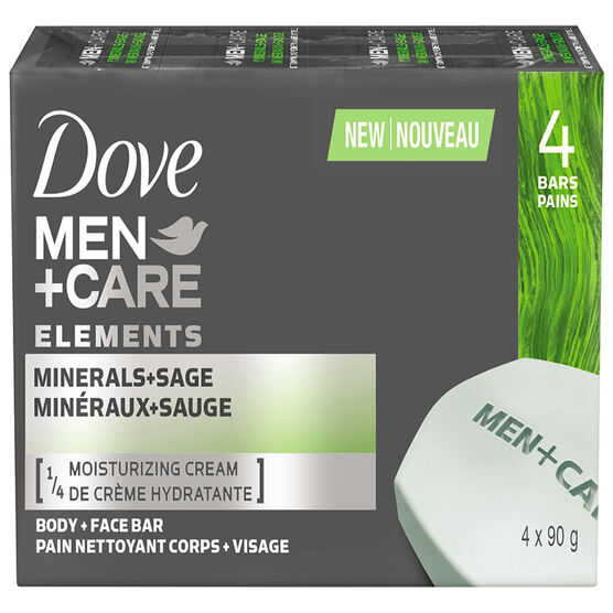 Dove Men+Care Elements Body and Face Bar - Minerals+Sage - 4 x 90g