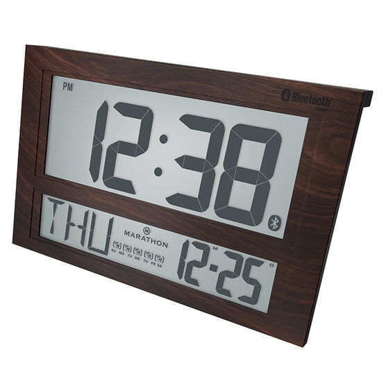 Marathon Atomic Blue Tooth Clock - Wood - CL800003WD