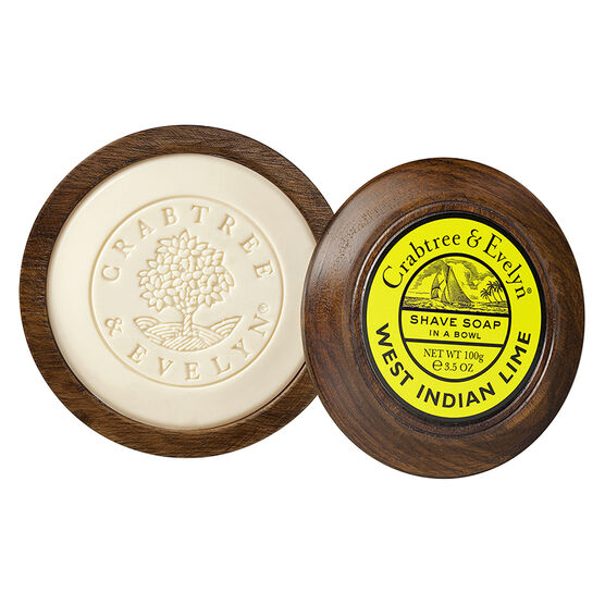 Crabtree & Evelyn West Indian Lime Shave Soap in a Wooden Bowl - 100g