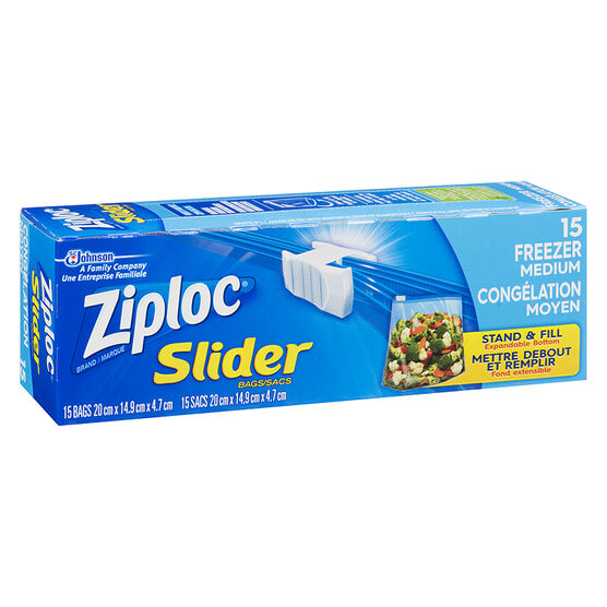 Ziploc Slideloc Freezer Bag - Medium - 15's