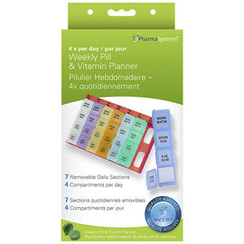 PharmaSystems Weekly Pill Planner with 4 times daily removable sections